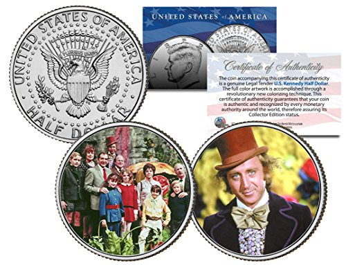 Willy Wonka & The Chocolate Factory Movie Colorized Jfk Half Dollar 2-Coin Set