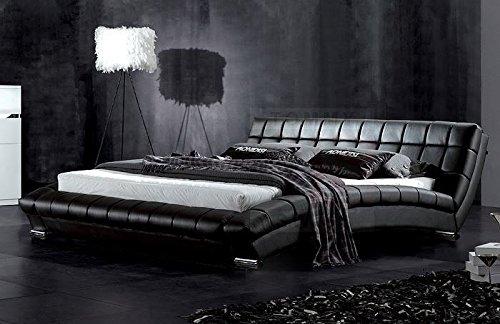 Modern Furniture Direct Atlanta King Size Designer Leather Bed Frame, 5 ft, Black
