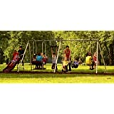 Flexible Flyer Play Park Metal Swing Set Four-passenger Lawn Swing Two-passenger Air Glider w/ 6' Wave Slide and Deluxe Trapeze Swing. Kids Find These New Backyard Swings Are Great for Playground or Outdoor Gym 6 Leg Accommodates up to 10 Children