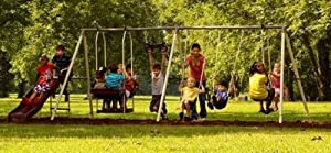 Flexible Flyer Play Park Metal Swing Set Four-passenger Lawn Swing Two-passenger Air... by Flexible Flyer