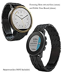 Moto 360 2 (2nd Gen., 42mm) 20mm Watch Band, Truffol Strap Quick Release for Android Smartwatch (Free Tools) (Black)