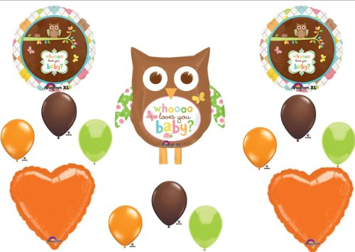 Whoo Loves You Baby Shower Orange Balloons Decorations Supplies front-907129
