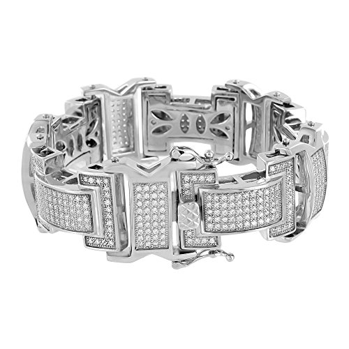 Mens Custom Made Bracelets 14K White Gold Over Stainless Steel Lab Diamonds New (Custom Made Bracelets For Men compare prices)