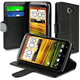 eForCity Leather Case with Credit Card Wallet for HTC ONE X - Retail Packaging - Black