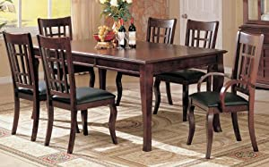 7pc Formal Dining Table & Chairs Set Rich Cherry Finish