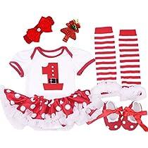 Baby Girls Christmas Outfit Newborn Infant My First Christmas Tutu Dress Set 5PCs (Meduim (6-9 months) White (Short Sleeve 5PCs))