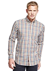 2in Longer Blue Harbour Luxury Pure Cotton Marl Grid Checked Oxford Shirt