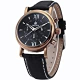 Orkina Mens Black Dial 6 Hands Coffee Case Sport Quartz Wrist Watch Gift