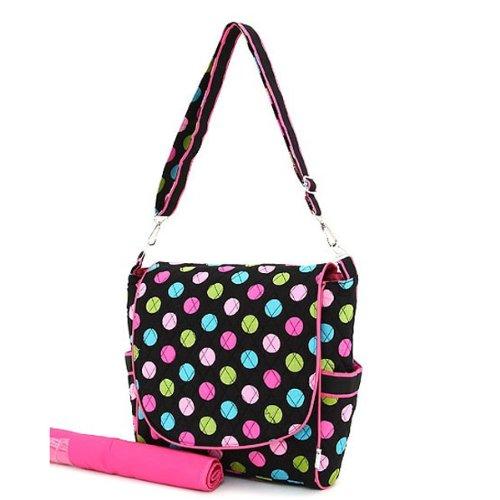 belvah quilted polka dot messenger diaper bag black multi designer nappy bags. Black Bedroom Furniture Sets. Home Design Ideas