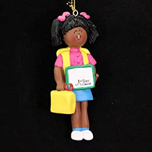 Ornament Central OC-167-FAA African/American First Day of School Female Figurine