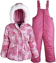 Rothschild Little Girls Down Alternative Bubble Snowsuit Ski Bib and Jacket Set