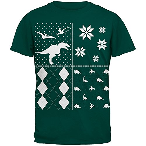 Dinosaurs Festive Blocks Ugly Christmas Sweater Dark Green Adult T-Shirt - Small