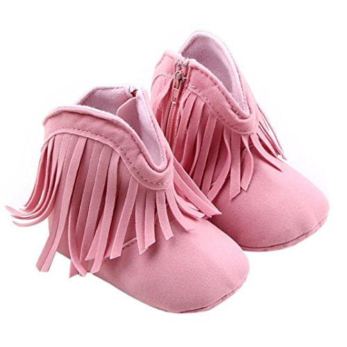 Creazy®Toddler Infant Newborn Baby Girl Shoes Soft Sole Boots Prewalker Tassel (12, Pink)