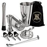 Boston Cocktail Shaker Set - Professional Bar Drink Mixing Supplies - Ultimate Collection Bartender Muddler Kit, Stainless Steel Martini Shakers, Gold with Black Velvet Sleeve