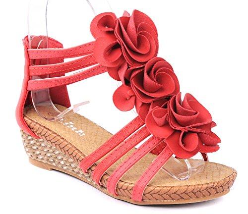 Jjf Shoes Jojo24 Kids Red Flower Comfort Ankle Strap Summer Platform Wedge Sandal-9