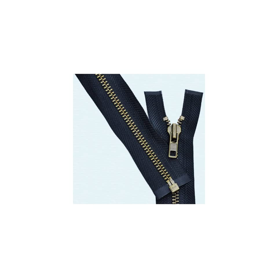 32\ Jacket Zipper Heavy Weight ~ YKK #7 Antique Brass Separating ~ 573 Beige 1 Zipper