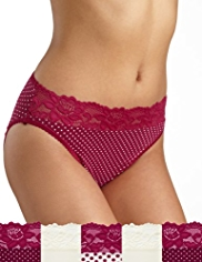 5 Pack Cotton Rich Floral Lace & Spotted High Leg Knickers