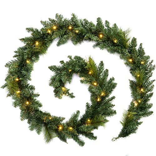 werchristmas-pre-lit-garland-christmas-decoration-illuminated-with-40-warm-led-lights-9-ft-white