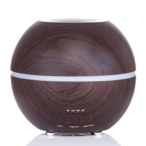 Essential Oil Diffuser, 300ml Ultrasonic Air Humidifier with 4 Timer Settings, 7 Changing colored LED Lights, Adjustable Mist Model - Dark Wood Grain (Timer For Diffuser compare prices)