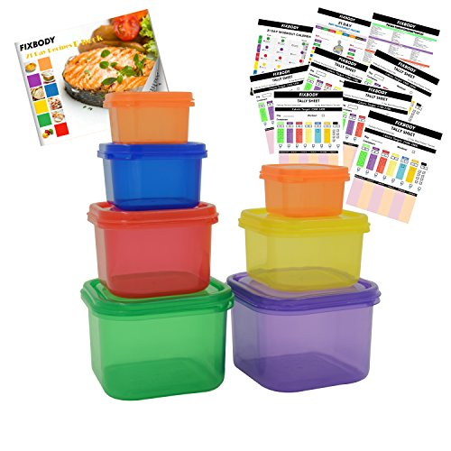 FIXBODY 7 Piece Portion Control Containers Kit (COMPLETE GUIDE + FREE 21 DAY PDF PLANNER + RECIPE E-BOOK + BODY PDF TRACKER included) - Leak proof, Perfect Size, Color-coded (21 Day Meal Containers compare prices)