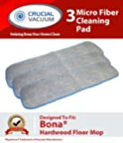 3 Bona Hardwood Floor Micro Fiber Cleaning Pad Designed To Fit Bona Hardwood Floor Mops, 15in Mohawk, Bona, Orange Glow and Ecolab's, Shaw, Bruce, Squeaky, Mercier, Kahrs and M&Y;Part # AX0003053; Designed & Engineered By Crucial Vacuum