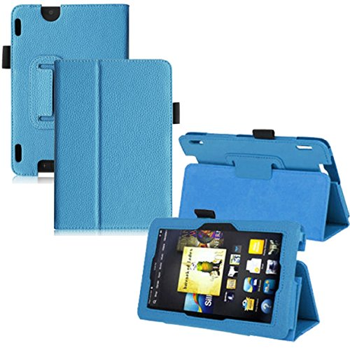 Lookatool Leather Folio Stand Cover Case For Amazon Kindle Fire HDX 7 Inch Sky BU (Kindle Battery First Generation compare prices)