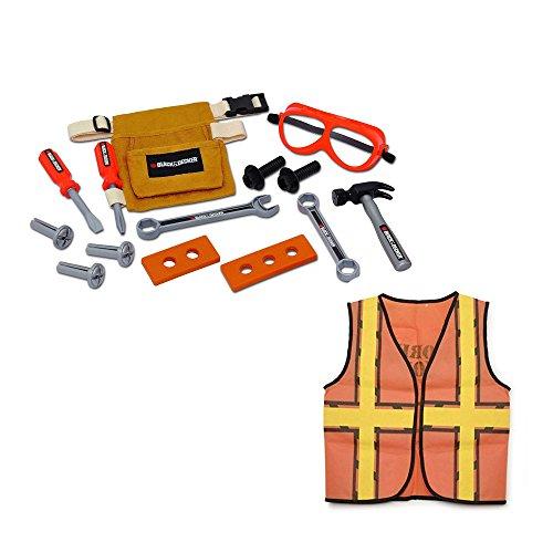 [14-Piece Toy Tool Belt Set & Orange Construction Vest Dress Up Bundle Set] (Tool Belt Costume)