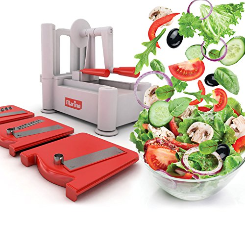 Marino Tri-Blade Vegetable Spiralizer, Strongest Sturdiest Spiral Slicer, Best Veggie Pasta Spaghetti & Zucchini maker-Includes Cleaning Brush (Vegetable Fruit Spiraliser compare prices)