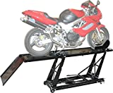 Hydraulic 1,000 lb Motorcycle Scissor Lift Table with Chock