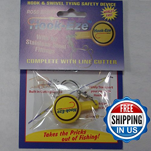 Hook eze yellow fishing hook cover safety tieing device for Fishing hook cover