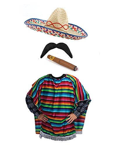 Mexican Western Bandit Fancy Dress Sombrero Poncho Complete Outfit