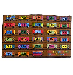 Large Classroom Kids Rug ABC Fun Train Area Rug 7\' X 10\' New Design #4