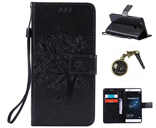 PU Cuir Coque Strass Case Etui Coque étui de portefeuille protection Coque Case Cas Cuir Swag Pour (Huawei P9) +Bouchons de poussière (5AD)