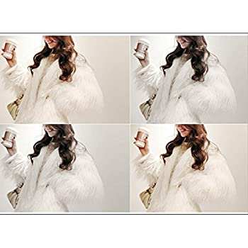 Jade Women's Winter Vintage Solid Faux Fur Short Fur Coat White