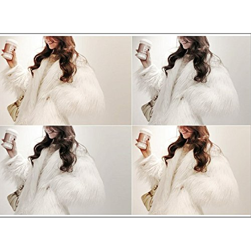 Jade Women's Winter Vintage Solid Faux Fur Short Fur Coat White 2