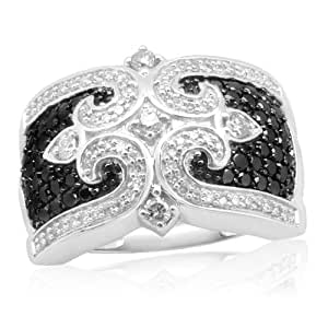 10k White Gold Black and White Diamond Ring (1.00 cttw, I-J Color, I2-I3 Clarity), Size 5