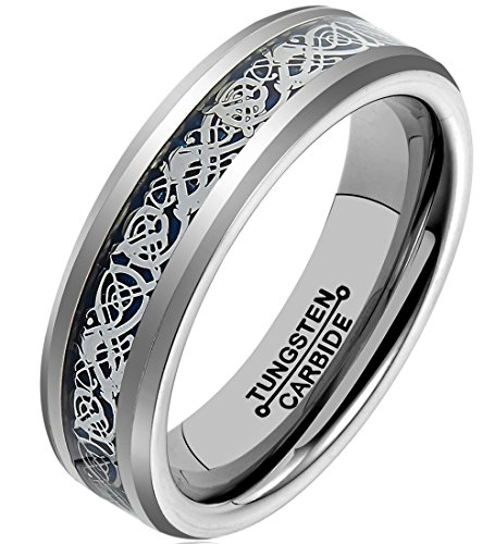 HSG Fashion 6MM Blue Celtic Dragon Tungsten Carbide Polished Ring Wedding Band (Dean Winchester Blue Steel compare prices)