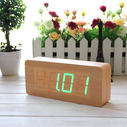 Eiiox Fashionable Bamboo Wood Grain Green Led Alarm Clock/ Time Temperature Date/ Sound Control/ Latest Generation Wooden Alarm Clock/ With Usb Cable