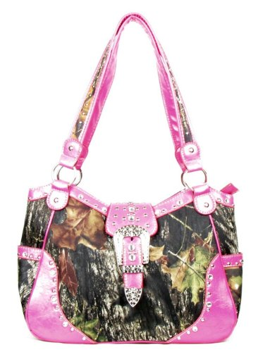 Western Concealed Carry Weapon Purse Camouflage Camo Belt Buckle Handbag Pink Large D2