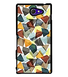 Fuson Premium 2D Back Case Cover Pyramid Crystal Pattern With yellow Background Degined For Sony Xperia M2 Dual D2302::Sony Xperia M2