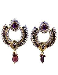 Aabhushan Jewels American Diamond/CZ Onyx Look Gold Plated Earrings For Women - B00OFXX4D8