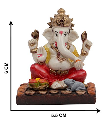 Affaires Ideal Gift - Beautiful Ganesha, Ganesh, Ganpati Murti Idol Statue Sculpture for car /office Decor, Ideal Gift to Your Loved Ones G-413