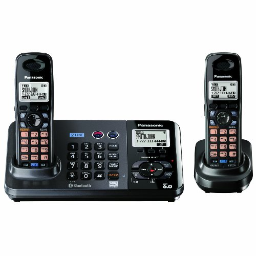Panasonic KX-TG9382T 2-Line Expandable Digital Cordless Phone with Answering System, Metallic Black, 2 Handsets