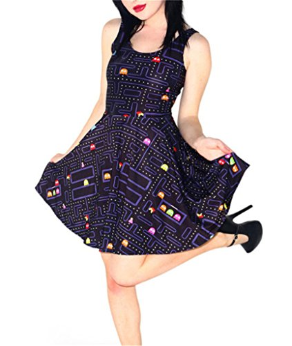 Aoibox Women's Digital Print Sleeveless Pleated Skater Dress