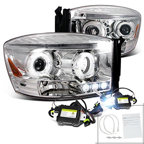 Dodge Ram Chrome Halo Led Projector Headlight+H1 6000K Hid Kit