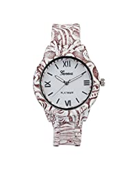 COSMIC MULTI COLOR ANALOG WRIST WATCH FOR MEN- BROWN AND WHITE STRAP