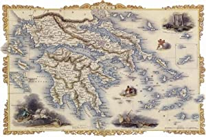 """Greece"" Map vintage poster reproduction 24""x36"""