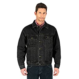 Wrangler Men\'s Big-Tall Unlined Black Denim Jacket, Black, 2X/Tall