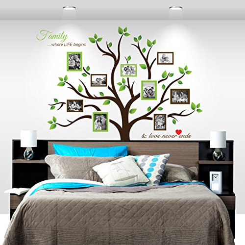 Large Family Tree Photo Frames Wall Decal   Peel U0026 Stick, Removable Vinyl  Art Stickers With Life Quotes, Woods, Branches, Leaves And Roots   Best For  ...