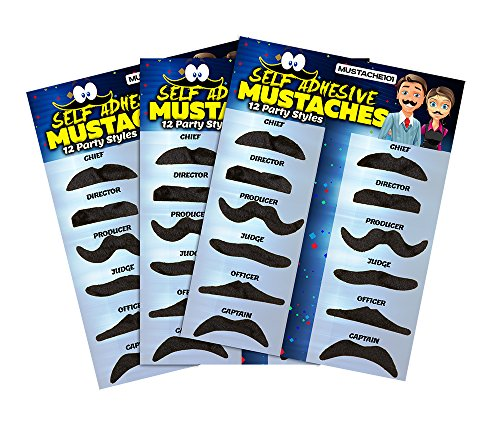 [Fake Mustaches - 36 Costume & Party Mustaches By Allures & Illusions] (Fake Mustache Kit)